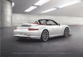 911 Carrera S Cabriolet A5-size stiff card, factory-issue, about 2012