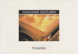 Range Rover pricelist, 4 pages, A5-size, 4/1986, German language