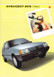 205 3-door Hatchback brochure, 8 pages, A4-size, 1985, Dutch language