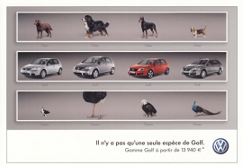 Golf 4 model variants, A6-size postcard, issue VW France, # VWP776