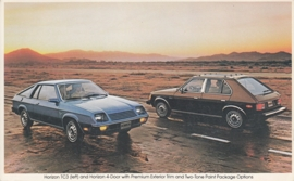Horizon TC3 & 4-Door, large US postcard, 12,5 x 20 cm, 1979