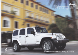 Wrangler specifications & prices brochure, 12 pages, 04/2016, German language