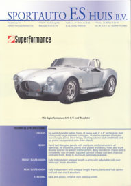 Superformance 427 S/C and roadster leaflet, 2 pages, about 1996, English language