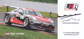 911 Carrera Cup with driver Wolf Nathan, signed, oblong postcard, issued about 2016