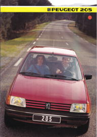205 Hatchback brochure, 8 pages, A4-size, 1985, Dutch language