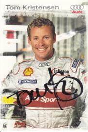 Racing driver Tom Kristensen, signed postcard 2003 season, German language