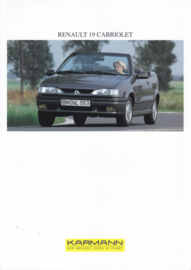 Renault 19 Cabriolet by Karmann brochure, 2 pages, about 1995, 3 languages