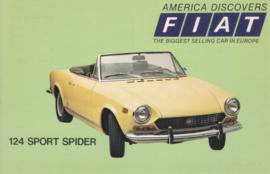 124 Sport Spider, standard size, US postcard, 1973