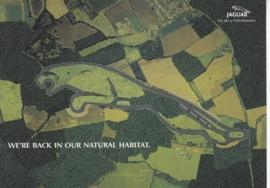 Formula 1 circuit in Jaguar shape, large postcard, 16 x 11 cm, Jaguar-racing set