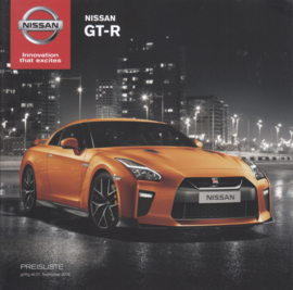 GT-R sportscar pricelist brochure, 16 pages, 09/2016, German language