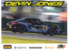 Cayman racer with driver Devin Jones, stiff USA leaflet, 2 pages, about 2015, English language