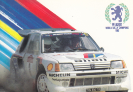 205 Turbo 16 WRC champion, A6-size postcard, 1985