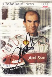 Racing driver Emanuele Pirro, signed postcard 2003 season, German language