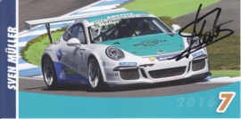 911 Carrera Cup with driver Sven Müller, signed, oblong postcard, issued about 2016