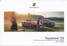 718 Boxster & Cayman tequipment pricelist brochure,  44 pages, 04/2016, German language