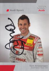 R8 racing driver Tom Kristensen, signed postcard 2005 season, German language