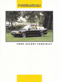 Ford Escort Cabriolet by Karmann brochure, 2 pages, about 1992, 3 languages