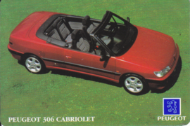 Peugeot 306 Cabriolet calendar card, year 1994, plastic, credit-card size