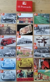 Ferrari postcard set, 18 different cards, showing history 1947-1997, comes in red cover