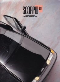 Merkur Scorpio by Lincoln-Mercury USA brochure, 20 pages, A4-size, 10/1988, English language