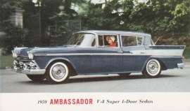 Ambassador V8 Super 4-Door Sedan, US postcard, standard size, 1959, # AM-59-7019H