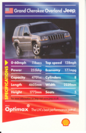 Jeep Grand Cherokee Overland collector card, small size,  Shell Optimax issue, 2002, UK