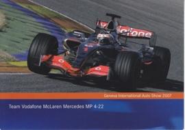 McLaren Mercedes MP 4-22 team Vodafone F1 racecar, A6-size postcard, Geneva 2007
