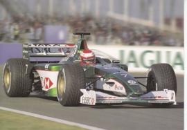 Formula 1 race car, large postcard, 16 x 11 cm, Jaguar-racing set