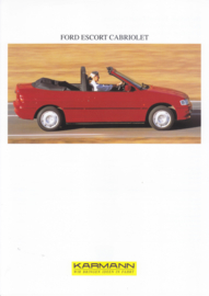 Ford Escort Cabriolet by Karmann brochure, 2 pages, about 1995, 3 languages