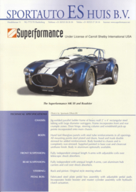 Superformance Mk III and roadster leaflet, 2 pages, about 1996, English language