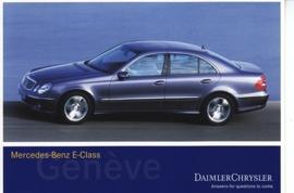 Mercedes-Benz E-Class, A6-size postcard, Geneva 2002