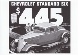 Standard Six Coupe, 1933 model, A6 size postcard, 100 years of Chevrolet by GM Europe, 2011
