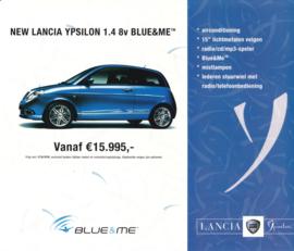 Ypsilon 1.4 8v Blue & Me leaflet, 2 pages, about 2007, Dutch language