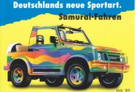 Samurai SJ Cabriolet, DIN A6-size postcard, German language, 1989