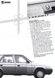 Favorit brochure, 2 pages + flap, Dutch language, 1989