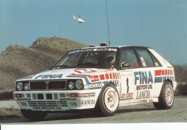 Delta HF Integrale 16v postcard, DIN A6-size, factory-issue, 1990