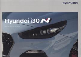i30 N Hatchback pricelist brochure, 12 pages, 01/2018, Dutch language