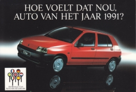 Clio car of the year, A6 size postcard, Dutch language, 1991