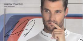 DTM driver Martin Tomczyk, oblong autogram card, 2015, German/English