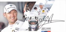 DTM driver Joey Hand, oblong autogram card, 2014, German/English