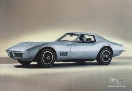 Corvette C3 Stingray 1968-1982, A6 size postcard, 50 years of Corvette, 2003