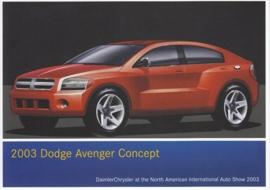 Dodge Avenger Concept, A6-size postcard, NAIAS 2003