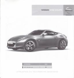 370 Z Coupé specifications brochure, 6 pages, 09/2009, Dutch language