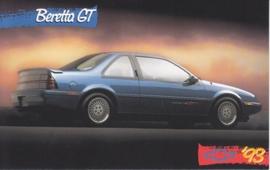 Beretta GT Coupe, US postcard, standard size, 1993