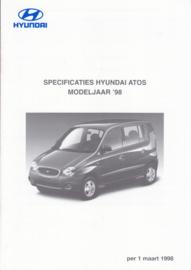 Atos pricelist brochure, 4 pages, 03/1998, Dutch language