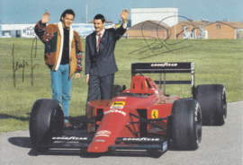 Formula One autogram postcard with drivers Berger & Mansell, 1989, # 544