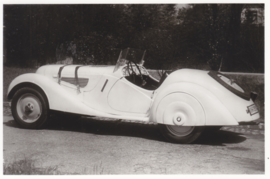 328 Sportwagen 6 cyl. 80 hp, DIN A6-size photo postcard, 1937-40, 4 languages