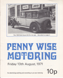Penny Wise Motoring magazine,  A5-size, 20 pages, 13th August 1971, English language