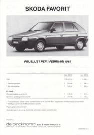 Favorit pricelist, 2 pages, Dutch language, 02/1989