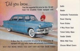 Crestline V8 4-Door Sedan, US postcard, standard size, 1954